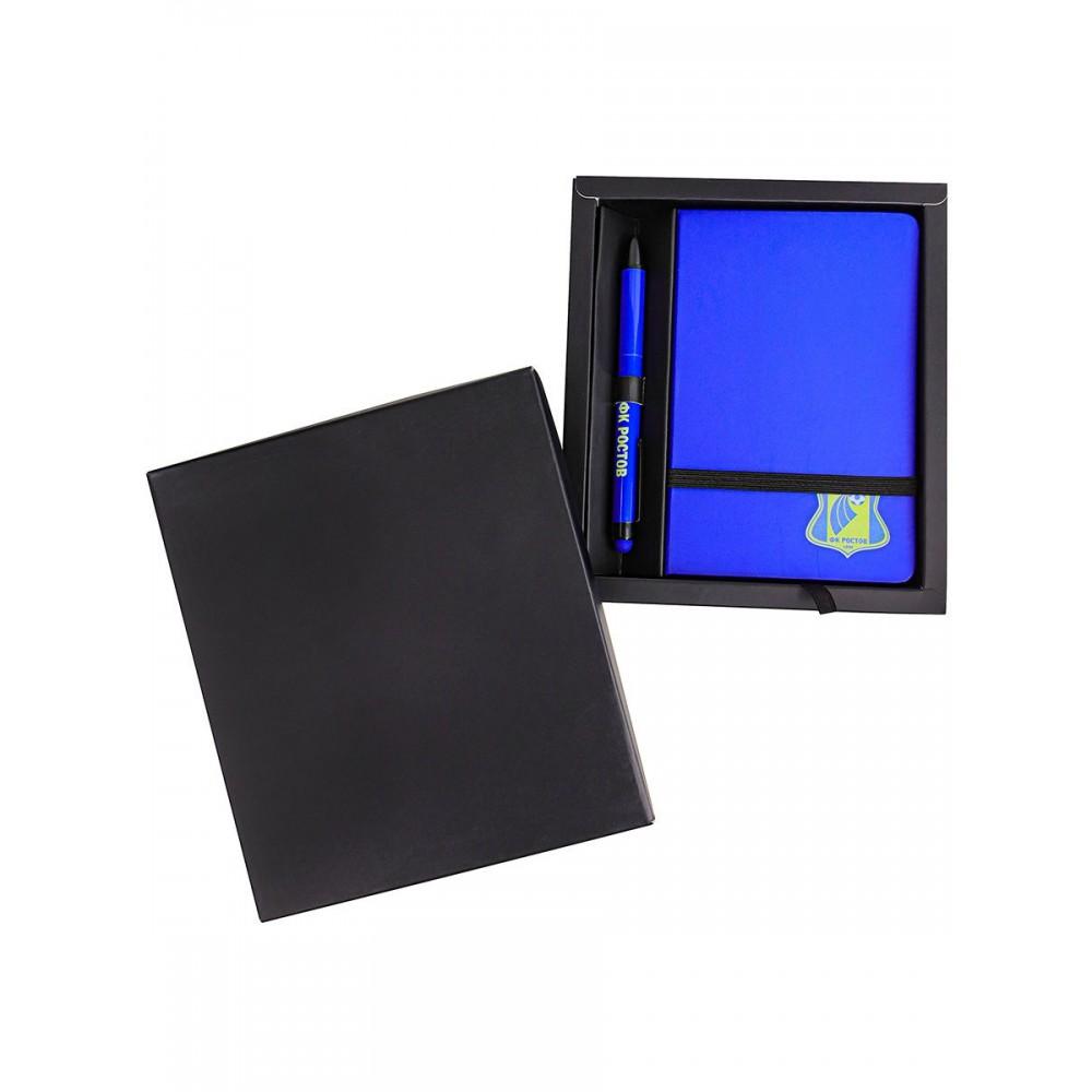 Блокнот с ручкой шариковой в синей коробке